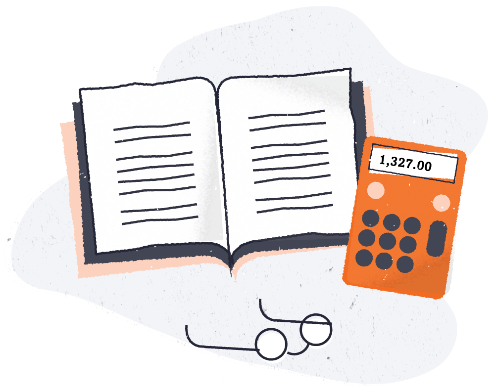 Illustration of a book, calculator, and reading glasses